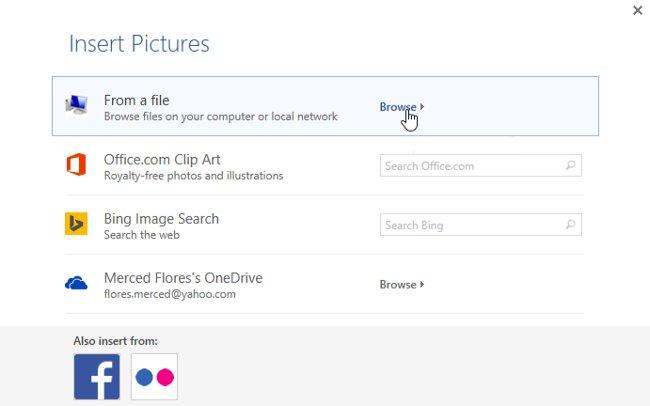 Trong ví dụ dưới đây, chúng tôi nhấp vào Browse (Duyệt) để định vị một hình ảnh được lưu trữ trên máy tính.