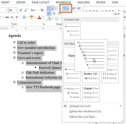Nhấp vào lệnh Multilevel list trên tab Home.