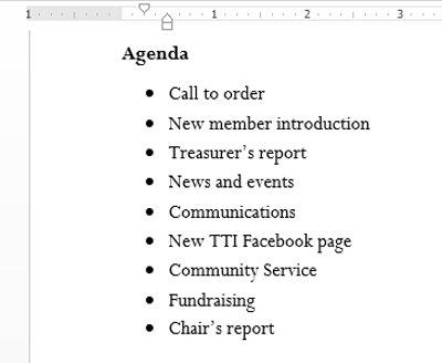 Văn bản sẽ được định dạng dưới dạng một danh sách có đánh dấu đầu đoạn.