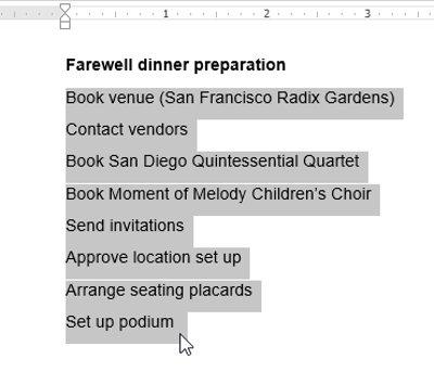 Chọn văn bản bạn muốn định dạng theo danh sách kiểu số.
