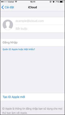 Giao diện đăng nhập iCloud