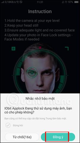 IObit Applock sử dụng Camera