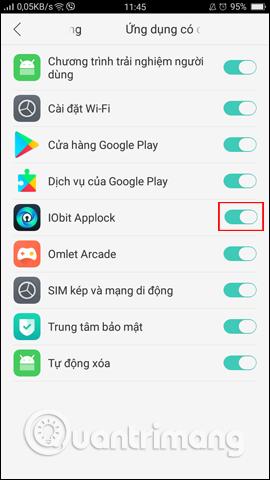 Cấp quyền cho IObit Applock