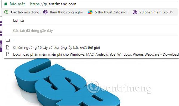 Các tab mới đóng trên Chrome