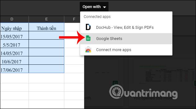 Mở file Excel trên Google Sheets