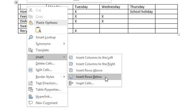 Nhấp chuột phải vào bảng, chọn các tùy chọn trong mục Insert