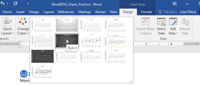 Chọn kiểu biểu đồ thích hợp trong mục Chart Styles
