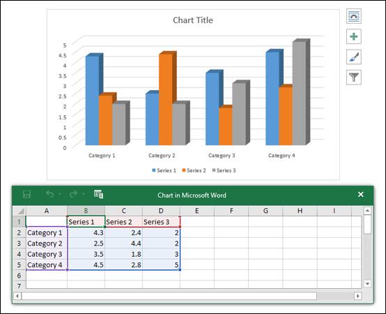 Biểu đồ và bảng tính mẫu xuất hiện