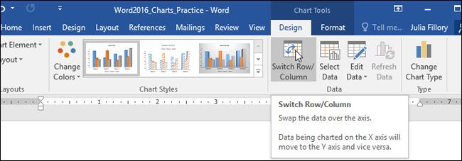 ChọnSwitch Row/Column từ tab Design