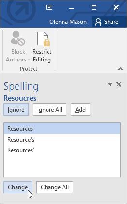 Bảng gợi ý sửa lỗi trong Word 2016
