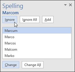 Các tùy chọn liên quan đến lỗi chính tả