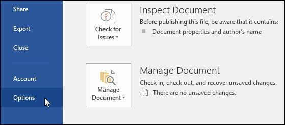 Chọn File > Options