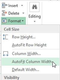 Sử dụng AutoFit để tự động điều chỉnh chiều rộng cho nhiều cột cùng một lúc