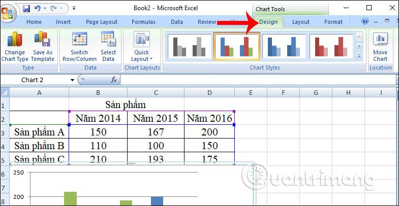 Chỉnh sửa biểu đồ tại tab Design