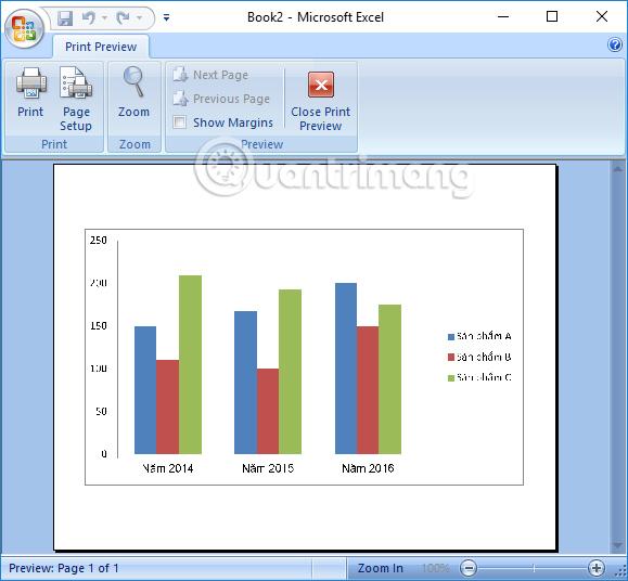 In riêng đồ thị trên Excel