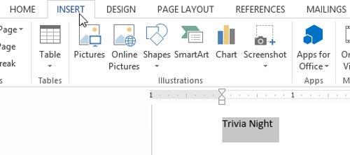 Chọn văn bản bạn muốn chuyển đổi, sau đó nhấp vào tab Insert.
