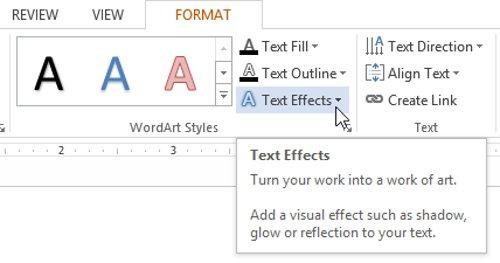 Trên tab Format, nhấp vào mũi tên thả xuống Text Effects trong nhóm WordArt Styles.