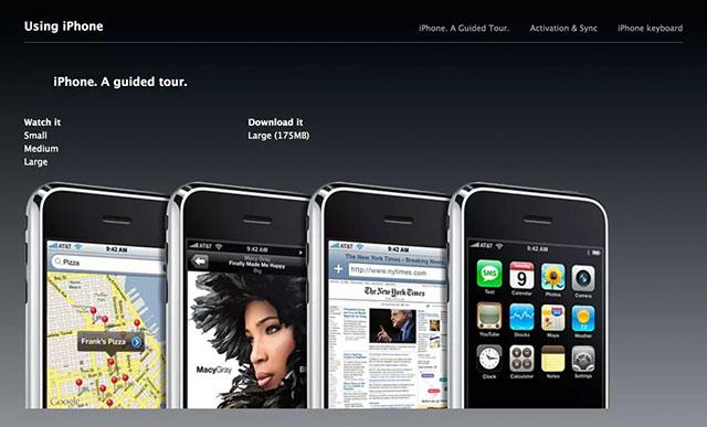 Hình ảnh các phần hướng dẫn trước đây trên iPhone cũ năm 2007