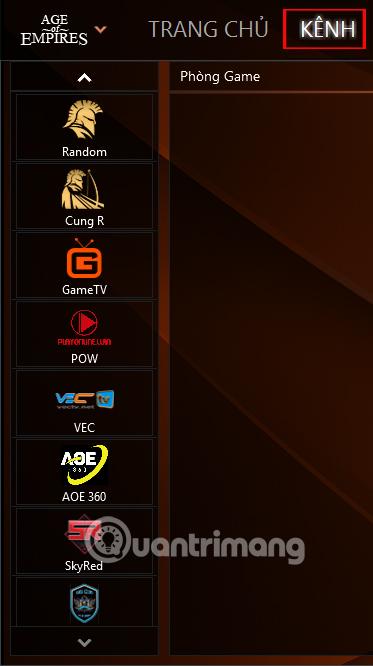 Kênh chơi game trong GameTV Plus