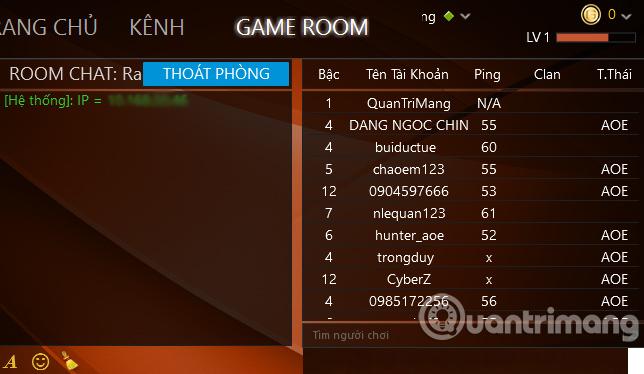 Giao diện phòng trong GameTV Plus