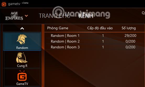 Các phòng trong GameTV Plus