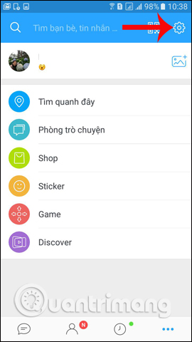 Thiết lập trên Zalo Android