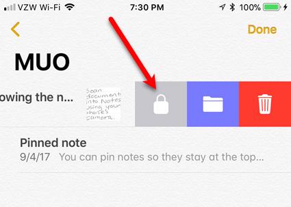 Khóa ghi chú trong Notes