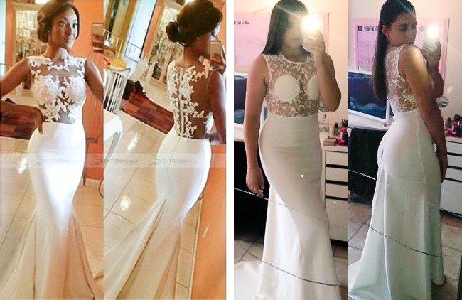 Váy cưới trên mạng và thực tế