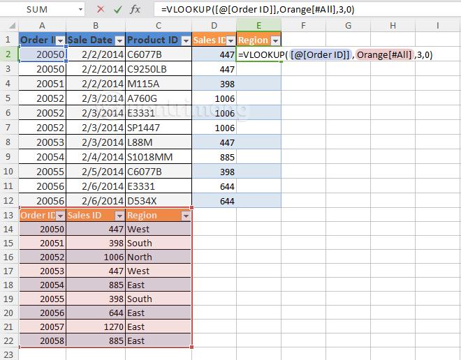 Nhập cột Region từ bảng Orange vào bảng Blue