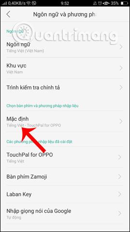 Đổi bàn phím Android