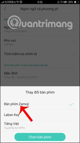 Sử dụng bàn phím Zamoji