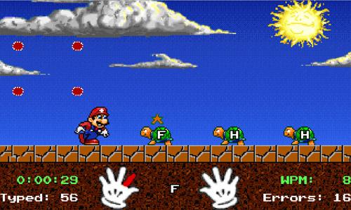 Luyện gõ máy đúng trong game Mario Teaches Typing