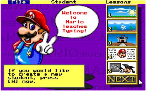 Các bài luyện gõ phím trong game Mario Teaches Typing