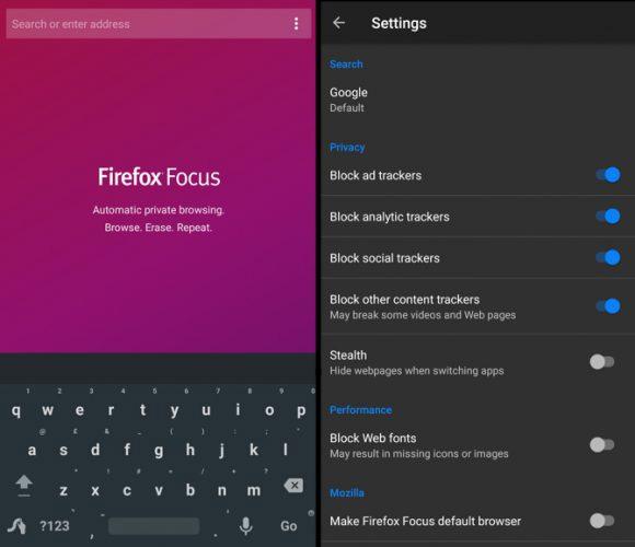 Trình duyệt web Firefox Focus