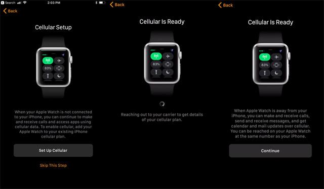 Thiết lập dịch vụ LTE trên Apple Watch