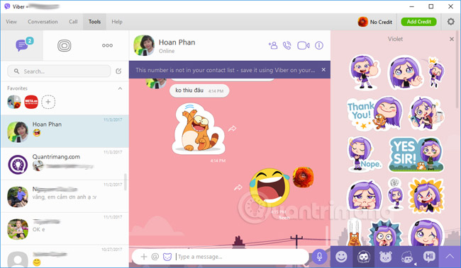Giao diện Viber trên máy tính