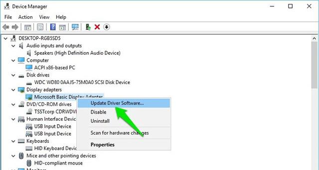 Chọn cập nhật phần mềm driver