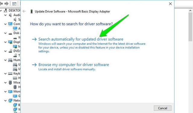 Nhấp vào để tìm kiếm tự động phần mềm driver cập nhật