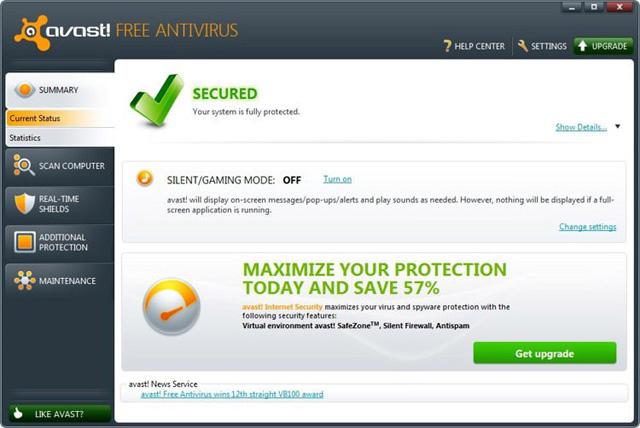 Phần mềm diệt virus Avast Free Antivirus