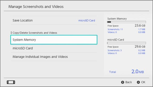 Chọn System Memory hoặc microSD Card