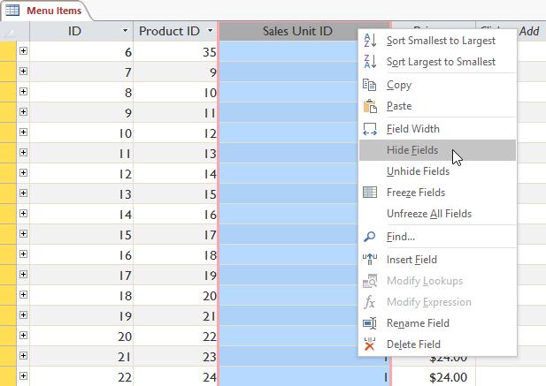 Ẩn cột trong bảng dữ liệu