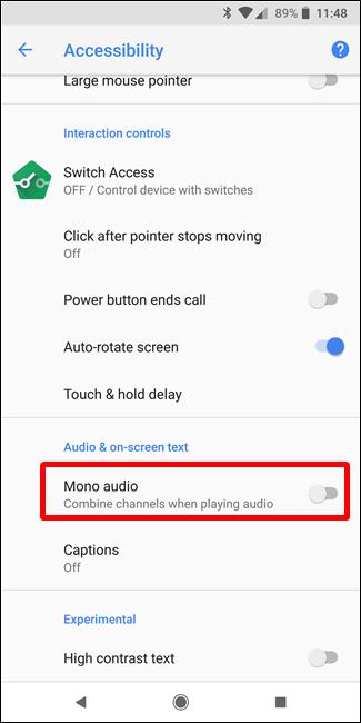 Bật Mono audio