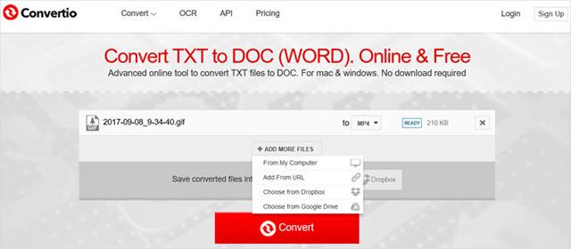 Trang web Convertio.co