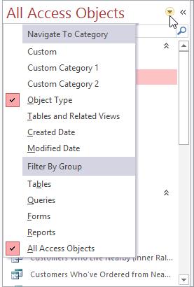 Thay đổi kiểu sắp xếp trong khung điều hướng Access 2016