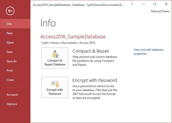 Các mục trong Menu File của Access 2016