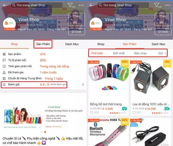 Tìm và chọn những sản phẩm mình cần mua