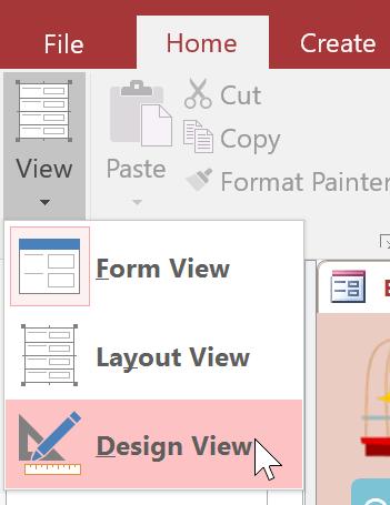 Chọn chế độ Design View