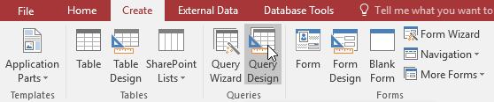 Chọn Query Design để thiết kế truy vấn trong Access 2016