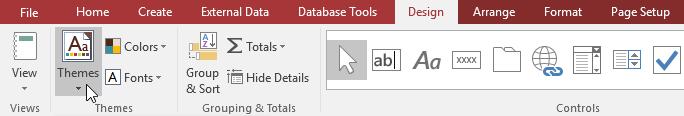 Tùy chọn Themes cho báo cáo trong Access 2016
