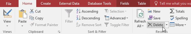 Xóa bản ghi trong bảng dữ liệu Access 2016